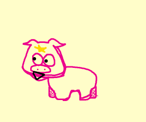 pig with pee star on his head