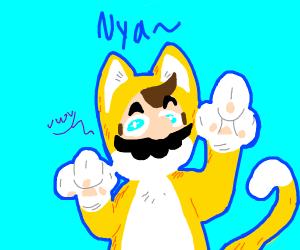 Mario in cat suit