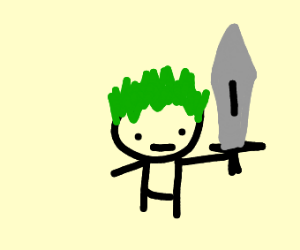 Green haired man with sword