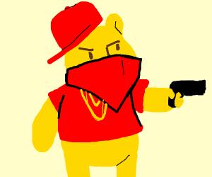 gansta winne the pooh shooting a gun
