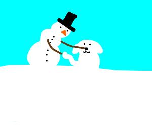 snow man builds snow dog