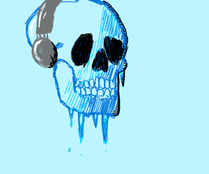 frozen skull with headphones is mind frozen