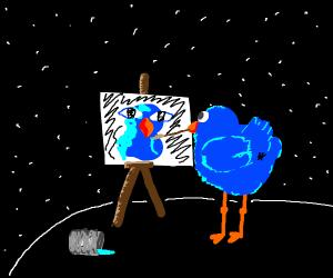 Bird paiting self portrait.
