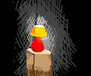 A lamp in a shady corner