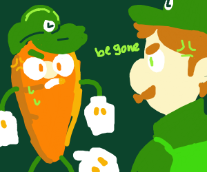 Luigi V.S. Carrot with Luigi hands