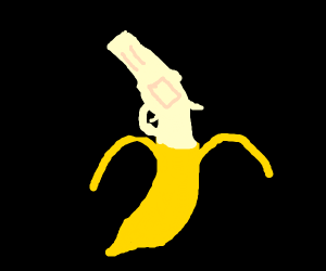 Banana peeled to reveal a gun