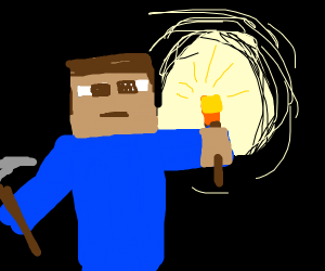 minecraft steve with torch
