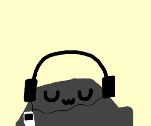 Rock listening to music on an ipod