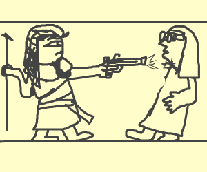 faraoh killing a lady with glasses with a gun