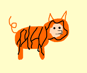 Pig dressed as a tiger so tiger won't eat it