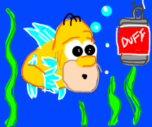 Homer fish being lured by a duff bait
