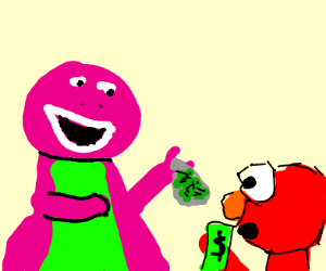 elmo wants weed from barney