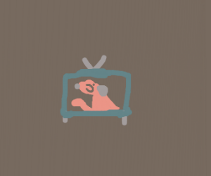 dog stuck in a Tv