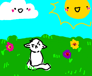 The sun, cloud, flowers are happy but not cat