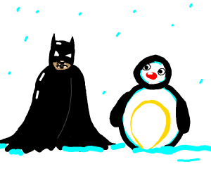 Batman with a pengu costume in a snowman