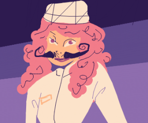 No sleep for you! Chef woman with moustache