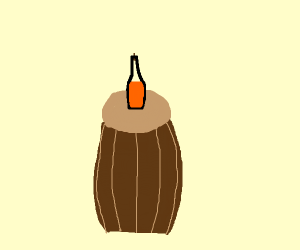 A Beer on top of a barrel