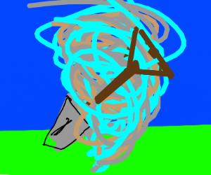 Shovel being sucked into tornado