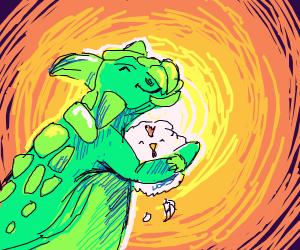 Dino loves chicken, sun approves :)