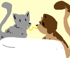 Lady and the Tramp but with cats