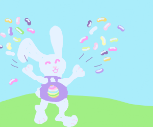 easter bunny throwing up colorful jelly beans