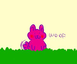 a pink dog on grass