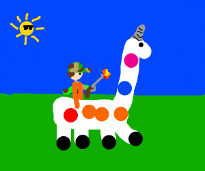Hunter Riding A Unicorn Giraffe