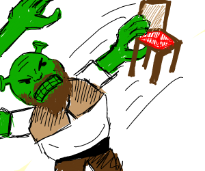 """Bearded shrek throwing furniture around"""
