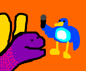Spyro meets blue birb with microphone