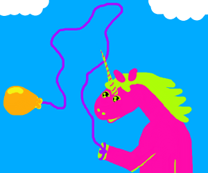 Pink and Green Unicorn with a Magical Balloon