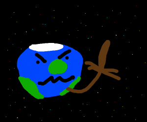 earth is mad and does a bad finger