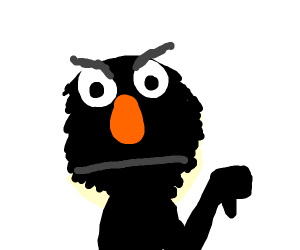 Black elmo expresses his disappointment