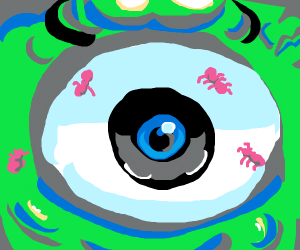Closeup of Mike Wazowskis eye covered in ants