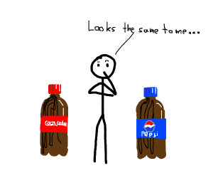 Stickman sees no diff. between Pepsi and Coke
