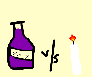Wine battles a candle