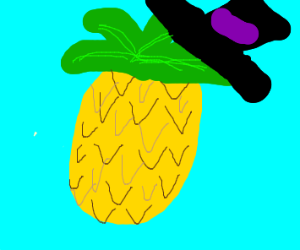 Pineapple wearing a Top Hat