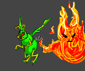 Fire kicking an evil green bug