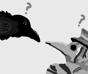 Confused crow looking at plague doctor