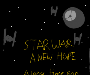 Star Wars title crawl, with Death Star cameo
