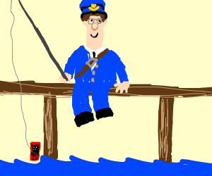 postman pat fishing with an MP3 player