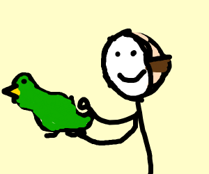 guy is happy because he received a green duck