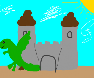 green dragon pooping a castle
