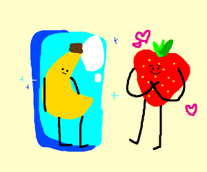 Frozen banana and strawberry fall in love