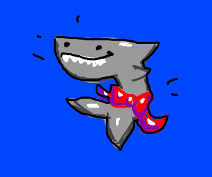 Shark with bow tied around tail