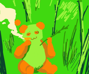 Swag smoking red panda near forest