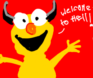 Yellow Elmo with horns welcomes you to hell