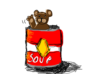A bear waving from inside a can of soup
