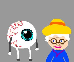 Eyeball looking at elder lady