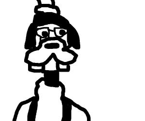 Goofy wearing glasses!
