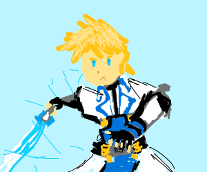 person with diamond sword and iron armor